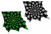 Jambyl Region (republic Of Kazakhstan, Regions Of Kazakhstan) Map Is Designed Cannabis Leaf Green An poster