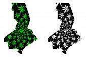 South Kazakhstan Region (republic Of Kazakhstan, Regions Of Kazakhstan) Map Is Designed Cannabis Lea poster
