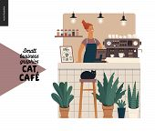 Cat Cafe -small Business Graphics -barista At The Counter. Modern Flat Vector Concept Illustrations  poster
