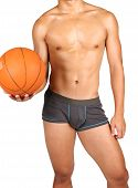 picture of bulging belly  - hunky asian with a basketball in hand over white background - JPG