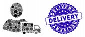 Collage Delivery Icon And Rubber Stamp Seal With Delivery Caption. Mosaic Vector Is Composed With De poster