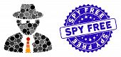 Mosaic Spy Icon And Rubber Stamp Watermark With Spy Free Text. Mosaic Vector Is Created With Spy Ico poster