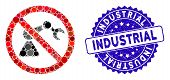 Mosaic No Industrial Robotics Icon And Distressed Stamp Watermark With Industrial Text. Mosaic Vecto poster