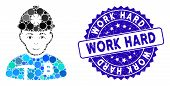 Mosaic Bitcoin Miner Icon And Grunge Stamp Watermark With Work Hard Caption. Mosaic Vector Is Formed poster