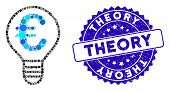 Collage Euro Bulb Icon And Rubber Stamp Seal With Theory Caption. Mosaic Vector Is Composed With Eur poster