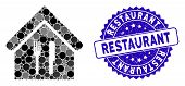 Mosaic Restaurant Icon And Grunge Stamp Seal With Restaurant Caption. Mosaic Vector Is Composed With poster