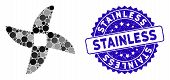 Mosaic Mincer Knife Icon And Grunge Stamp Watermark With Stainless Caption. Mosaic Vector Is Created poster