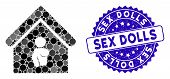 Mosaic Bordel Icon And Grunge Stamp Watermark With Sex Dolls Caption. Mosaic Vector Is Composed From poster