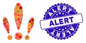 Mosaic Alert Icon And Grunge Stamp Watermark With Alert Phrase. Mosaic Vector Is Designed With Alert poster