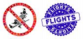 Collage No Witch Flights Icon And Rubber Stamp Watermark With Flights Phrase. Mosaic Vector Is Compo poster