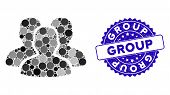 Mosaic User Group Icon And Grunge Stamp Seal With Group Caption. Mosaic Vector Is Designed With User poster
