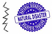 Mosaic Zigzag Line Icon And Grunge Stamp Seal With Natural Disaster Phrase. Mosaic Vector Is Formed  poster