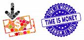 Mosaic Money Income Icon And Grunge Stamp Seal With Time Is Money Phrase. Mosaic Vector Is Formed Wi poster