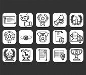 Set Of Awards Vector Icons.  Glory Shield, Prize Winner, Rank Star, Outline Icon Design.vector Illus poster