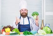 Healthy Nutrition Concept. Bearded Professional Chef Cooking Healthy Food. Healthy Vegetarian Recipe poster