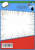 Comic Book Page Page Template. Pop Art Comic Page With Rays, Dotted Effects Storyboard Vector Illust poster