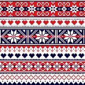 Scottish Fair Isle Style Traditional Knitwear Vector Seamless Pattern, Retro Shtelands Knit Repetiti poster
