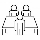 Productive Table Cooperation Icon. Outline Productive Table Cooperation Vector Icon For Web Design I poster