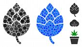Hop Bud Composition Of Round Dots In Different Sizes And Color Tinges, Based On Hop Bud Icon. Vector poster