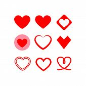 Love Hearts Icon Vector In Modern Flat Style For Web, Graphic And Mobile Design. Love Hearts Icon Ve poster