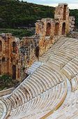 Scenic View Of Ancient Ruins Of The Odeon Of Herodes Atticus. It Is A Small Building Of Ancient Gree poster
