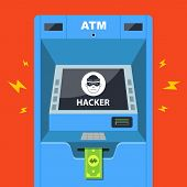 Hacker Hacked An Atm And Steals Money. Flat Vector Illustration poster