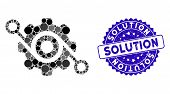 Mosaic Gear Solution Icon And Corroded Stamp Seal With Solution Phrase. Mosaic Vector Is Created Wit poster