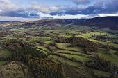 Stunning Aerial Drone Vibrant Autumn Fall Landscape Image Of View From Low Fell In Lake District poster