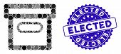 Mosaic Box Icon And Rubber Stamp Seal With Elected Text. Mosaic Vector Is Formed With Box Icon And W poster