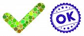 Mosaic Ok Icon And Rubber Stamp Watermark With Ok Text. Mosaic Vector Is Created With Ok Icon And Wi poster