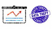 Mosaic Chart Icon And Distressed Stamp Seal With Data Theft Phrase. Mosaic Vector Is Created With Ch poster