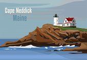 The Cape Neddick Light In Cape Neddick, York, Maine, United States. Vector Illustration poster