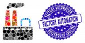 Mosaic Factory Icon And Rubber Stamp Watermark With Factory Automation Text. Mosaic Vector Is Compos poster