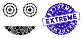 Collage Mad Smiley Icon And Rubber Stamp Seal With Extreme Phrase. Mosaic Vector Is Designed With Ma poster