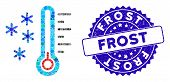 Mosaic Frost Temperature Icon And Rubber Stamp Seal With Frost Phrase. Mosaic Vector Is Created With poster