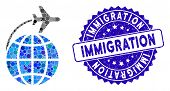 Mosaic International Flight Icon And Rubber Stamp Watermark With Immigration Text. Mosaic Vector Is  poster
