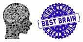 Mosaic Brain Icon And Distressed Stamp Seal With Best Brain Phrase. Mosaic Vector Is Formed With Bra poster