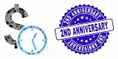 Mosaic Dollar Credit Icon And Corroded Stamp Seal With 2nd Anniversary Phrase. Mosaic Vector Is Desi poster