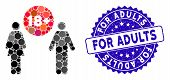 Mosaic For Adults Icon And Corroded Stamp Seal With For Adults Caption. Mosaic Vector Is Composed Wi poster