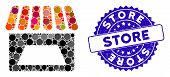 Mosaic Store Icon And Distressed Stamp Seal With Store Text. Mosaic Vector Is Composed With Store Pi poster