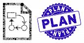 Mosaic Business Plan Icon And Rubber Stamp Watermark With Plan Phrase. Mosaic Vector Is Formed With  poster