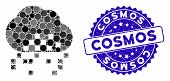 Collage Cloud Dissipation Icon And Rubber Stamp Seal With Cosmos Caption. Mosaic Vector Is Formed Wi poster