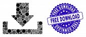 Mosaic Download Icon And Distressed Stamp Watermark With Free Download Phrase. Mosaic Vector Is Comp poster