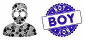 Mosaic Boy Icon And Rubber Stamp Watermark With Boy Caption. Mosaic Vector Is Created With Boy Icon  poster