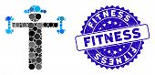 Mosaic Gentleman Fitness Icon And Rubber Stamp Seal With Fitness Caption. Mosaic Vector Is Created W poster