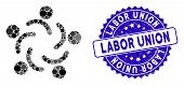 Mosaic People Unity Icon And Corroded Stamp Seal With Labor Union Caption. Mosaic Vector Is Composed poster