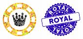 Mosaic Royal Casino Chip Icon And Rubber Stamp Seal With Royal Caption. Mosaic Vector Is Designed Wi poster
