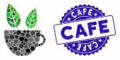 Mosaic Vegan Cafe Icon And Corroded Stamp Seal With Cafe Caption. Mosaic Vector Is Created From Vega poster