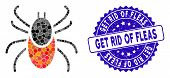 Mosaic Mite Tick Icon And Grunge Stamp Watermark With Get Rid Of Fleas Caption. Mosaic Vector Is For poster