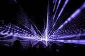 Purple Laser Show Nightlife Club Stage With Party People Crowd. Luxury Entertainment With Audience S poster